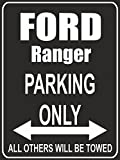 Indigos UG - Parking Only - Ford Ranger - Garage / Carport - Parkplatzschild 32x24 cm schwarz/silber - Alu-Dibond - Folienbeschriftung