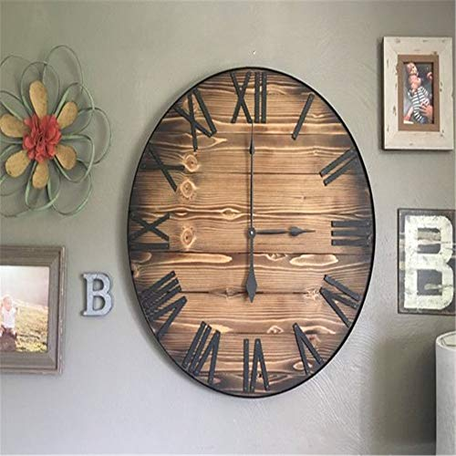 ll Clock for Living Room & Home & Office Battery Operated, Fir Wrought Iron Shabby Clock American Retro Home Living Room Wall Hanging ()