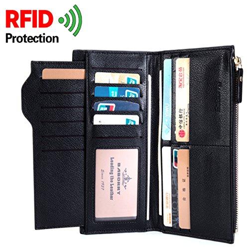ALAIX Portafoglio in pelle da uomo Bifold Portafoglio sottile per uomo-con 17 slot per schede - Coin Zipper Pocket- RFID Blocking Nero