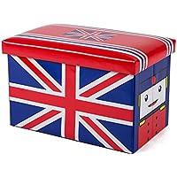 Preisvergleich für Folding Storage Seat Bench- 50L Faltbare Leder Speicher Hocker Cartoon Kinderspielzeug Aufbewahrungsbox mit Deckel Home Decor (Farbe : F)