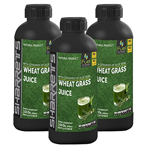 Sharrets Wheatgrass Juice (Antioxidant, supports immune system, daily health supplement) Non GMO, Gluten free, Halal Certified [ Triplets : Each 946ml.(32oz.) No color, No flavor]