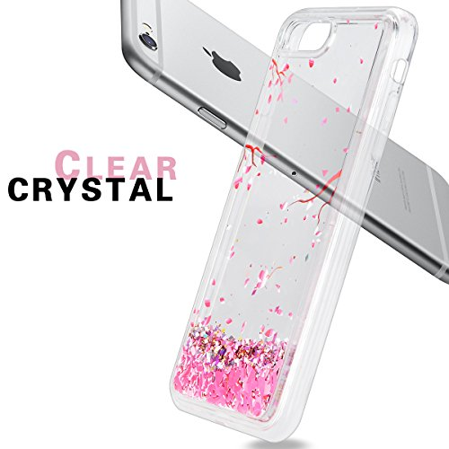 Yokata Coque iPhone 5S, iPhone SE, iPhone 5 Etui Transparente Paillette Glitter Motif Fleur Prunier Rose Hard Case Bling Liquide Design Ultra Fine Strass Sparkle Étui Rigide Transparent avec Bumper So iPhone 6S Plus / 6 Plus (5.5 pouces)