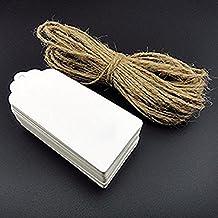 Sintética Ran 100piezas de papel Kraft de color blanco DIY etiqueta en blanco para tarjetas de boda regalo precio etiqueta para equipaje con cuerdas