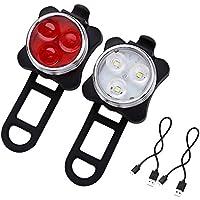 Hepooya LED Fahrradlicht Set USB Aufladbar Wasserdicht Fahrradlampe Set, LED Fahrradlampe Fahrradbeleuchtung Frontlicht und Rücklicht
