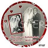 1 Tortenaufleger Oder 12 Muffinaufleger zur Rubinhochzeit/Silberhochzeit/Goldenen Hochzeit/Diamantenen Hochzeit - mit Ihren Fotos
