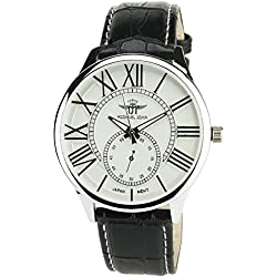 Men's Watch MICHAEL JOHN SILVER Quartz Steel Case Analogue Display Band FAUX LEATHER BLACK