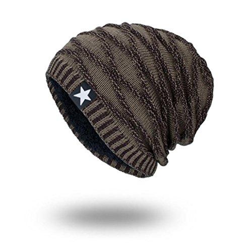 YanHoo Cappelli Uomo Cappello a Maglia del Cappello di Inverno delle Donne del Faccia Sorridente,Misto Lana (Formato Libero, Khaki)