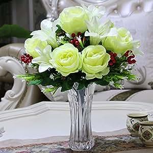 Jfwmzyq Künstliche Blumen Glas Vase Anzug Wohnzimmer Dekoration