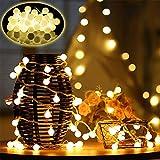 Viixm Catena Luminosa 10M Stringa Luci Led Catena di Lampadina con 60 LED, 8 Modalità Flash, Lucine Led Decorative a Batteria, Luci Stringa per Feste, Giardino, Natale, Halloween, Matrimonio