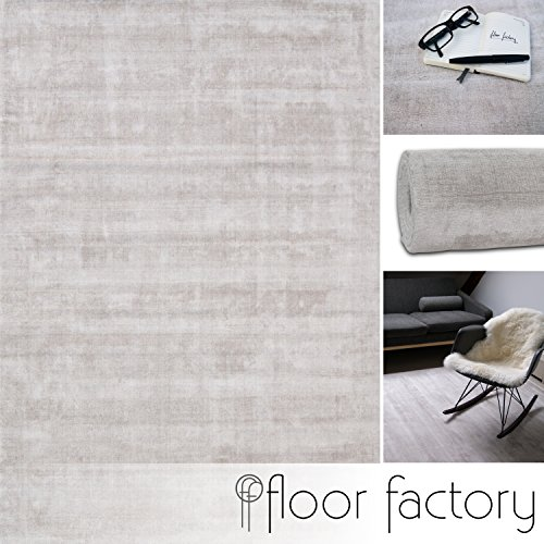 floor factory Moderner Teppich Lounge beige Creme 160x230cm - Edler Designer Teppich im Vintage Look - Viskose-teppich