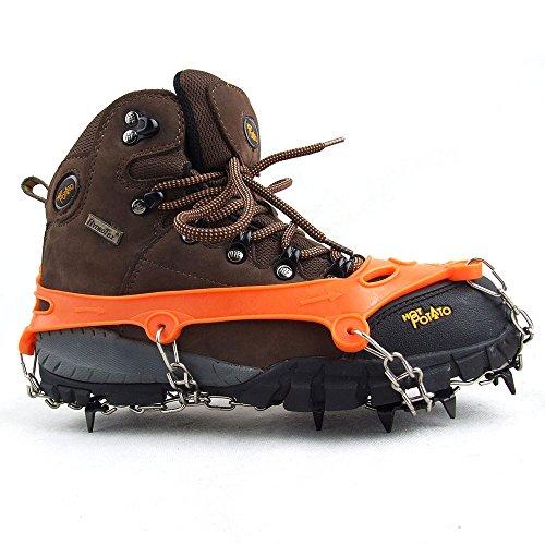 Lixada 1 Paar 11 Zähne Krallen Steigeisen rutschfeste Schuhe Cover Edelstahl Kette draußen Eis Schnee Ski Wandern Klettern