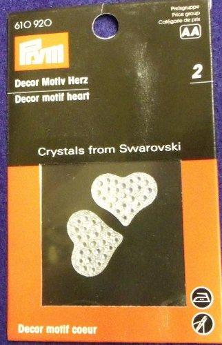 Prym-Confezione da 2 pezzi, 22 mm, con motivi a forma di cuore, con cristalli di Swarovski,-Toppa per cucire o stirare