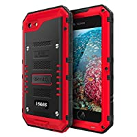 iPhone 6 Case & iPhone 6S Case Heavy Duty with Built-in Screen Full Body Protective Waterproof,Impact Strong,Shockproof Dust Proof Tough Rugged Cover Metal Bumper Military Grade Defender Outdoor,Red