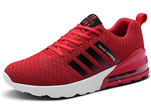 Damen Herren Laufschuhe Sportschuhe Turnschuhe Trainers Running Fitness Atmungsaktiv Sneakers(Rot,Größe 42)