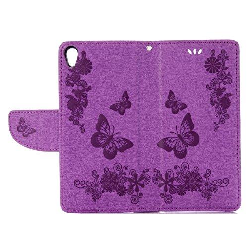 Custodia Xperia E5, ISAKEN Flip Cover per Sony Xperia E5 con Strap, Elegante borsa Tinta Unita Farfalla Design in Sintetica Ecopelle PU Pelle Protettiva Portafoglio Case Cover con Supporto di Stand /  Farfalla: violet