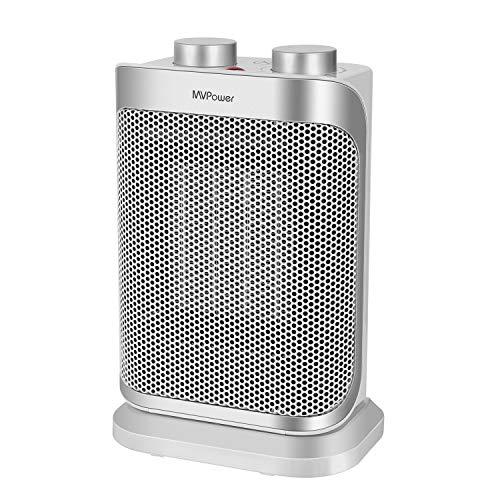 Mvpower Mini Calefactor de Ventilador de Cerámica, 1500W, Tres Niveles de Potencia, Control de Temperatura Continuo, Protección contra Vuelcos y Sobrecalentamiento, Fusible Térmico, Certificado GS