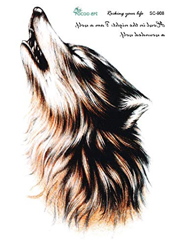 HXMAN 3pcs Wolf King Wolf Kopf Dominierende Blume Arm Tattoo Aufkleber Wolf Tattoo Speedy Persistenz Wasserdicht Tattoo Aufkleber 150x105mm
