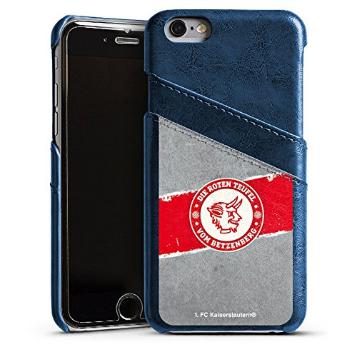 Apple iPhone 7 Lederhülle Leder Case Leder Handyhülle 1. FC Kaiserslautern Fanartikel FCK Leder Case Navyblau
