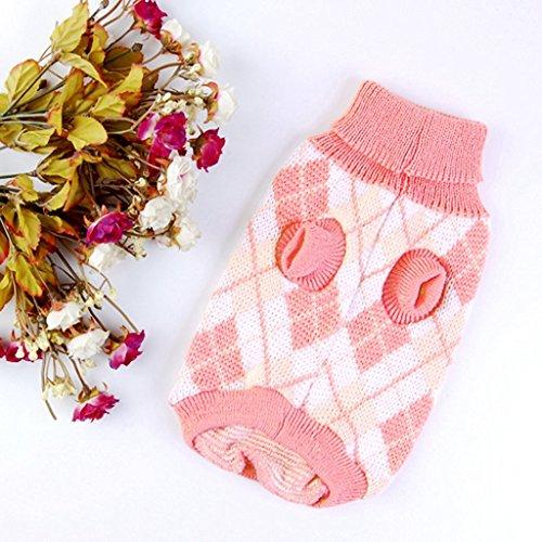 tfxwerws Argyle Muster Knit Rollkragen Pet Dog Pullover Tuch (Rosa, - Sheep Dog Kostüm Muster