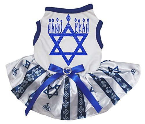 Petitebelle Hanukkah Dog Dress Hexagram White Shirt Blue Stripe Tutu (Chanukka Kostüme)