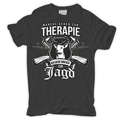 Männer und Herren T-Shirt Manche gehen zur Therapie ICH ZUR JAGD Körperbetont grau