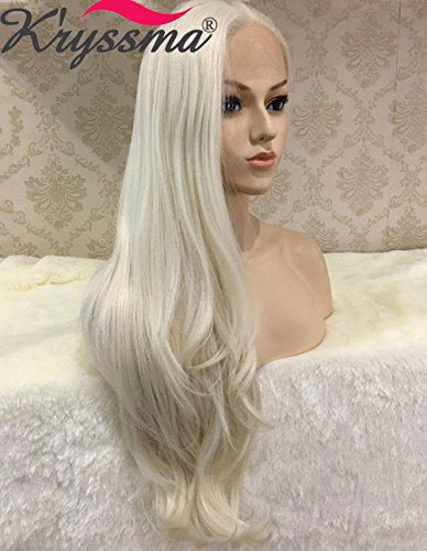 K'ryssma Naurual Wavy White Blonde Lace Front Wigs for White Women Realistic Looking Synthetic Hair Long Wig uk Half Hand Tied Heat Resistant Fiber 24 ()