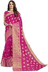CLOTHAM Women's Banarasi Art Silk Saree With Unstitched Bl