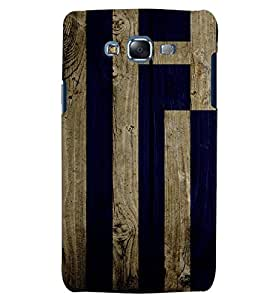 Citydreamz Blue Golden Wood Stripes Hard Polycarbonate Designer Back Case Cover For Samsung Galaxy E5