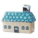 Qinlee Hütte Micro Landschaft Dekoartikel Retro Mini Hütte Garten Home Desktop Häuser Dekoration Ornamente Moos Bonsai Scenery Mikrolandschaft DIY Craft Garten Ornament size 7*8*3cm (Blau)