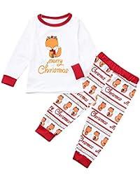 FRAUIT Navidad Niños Dibujos Animados Little Fox Letra Print Top + Pantalones Ropa Familiar Pijamas Familiares Ropa de Dormir Traje a Juego de Navidad Mujer Hombre Bebé Niño Niña de Pijamas