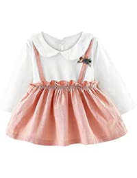 fb222c9ce Bestow- Baby Dresses Newborn Infant Clothes for 0-24 Months Pan Collar Long  Sleeve