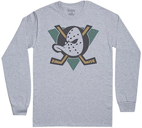 Mighty Ducks Langärmeliges T-Shirt der Männer - Herren Langarmshirt T-Shirt - Grau, Large - Duck Herren T-shirt