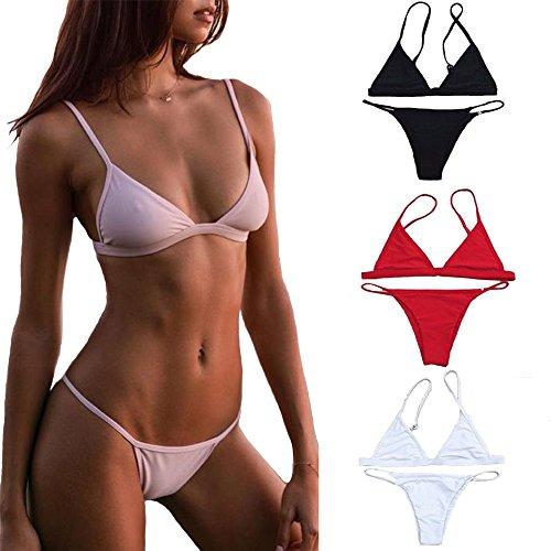 CREOSS1946 Sexy Frauen Bikini Set Verband Pushup Gepolsterte Badehosen  Bikini Baden Beachwear Schwarz