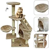 Cat tree with beige scratching post - Scratching post made of natural sisal