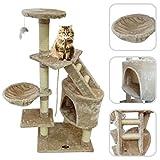 Albero per gatto con graffiatoio beige - Tiragraffi in sisal naturale