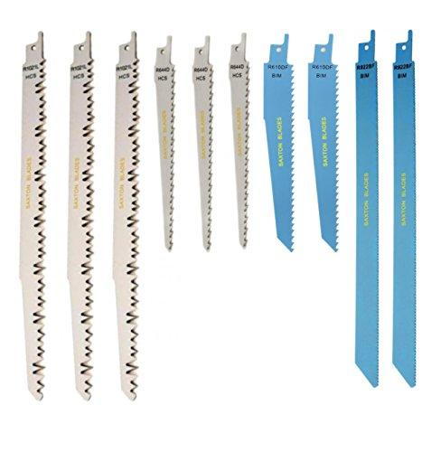 Saxton RPR10MXC, Kombination mit 10 Säbelsägeblättern; hin- und herbewegend; für Holz; passend zu Bosch, Dewalt, Makita