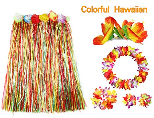 BigLion 6 Stück Hawaii Party Kostüm Set, Tropical Hawaiian Flower Leis Hula Luau Grass Dance Rock Hibiskus Blumen Haarspangen Haar Clips Armbänder Stirnband Halskette Girlande für Beach Party Favors (Hawaiian Kostüm Für Party)