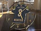 NFL National Football League Schreibtisch-Uhr–NFC West American Football Trikot-Uhr–personalisierbar, Damen Herren Kinder, SEATTLE SEAHAWKS