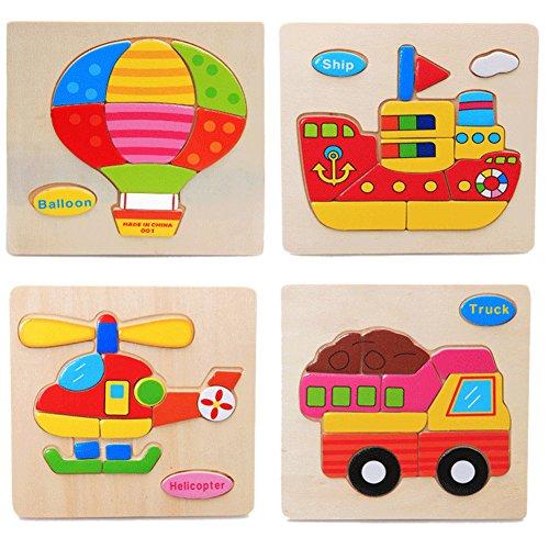 La Cabina Brain Teaser Puzzle 3D Bois Enfant Puzzle de Développement Jouet Puzzle Bois Motif Véhicules Multi-style Jouets Educatifs Cadeau pour Enfant(Style Aléatoire)