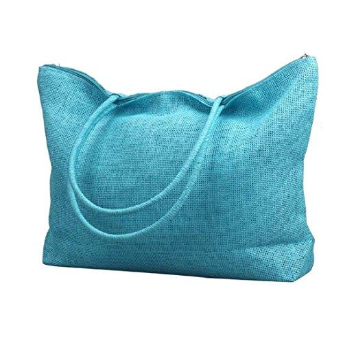 Ularma Damen Handtasche Stroh Polyester Einfach Einstellbar Schultertasche abziehbar Handbag Hellblau