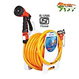 AquaHose Household Water Hose Reel - Fixed Type (Orange) 15mtr ISI Marked Hose (with Tap Adapter with easy to use Butterfly Clamp & Bead Chain to Tighten)