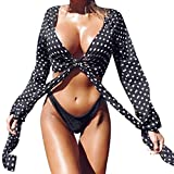 OSYARD Damen Chiffon Polka Dot Bikini Vertuschen Strand Sonnenschutz Kurze Tops(EU 46/M, Schwarz)