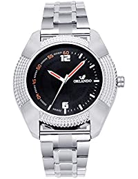 Orlando® Branded Japan Movement Chronograph Look With Black Dial & Silver Stainless Steel Belt Watches For Men - W1305S2B