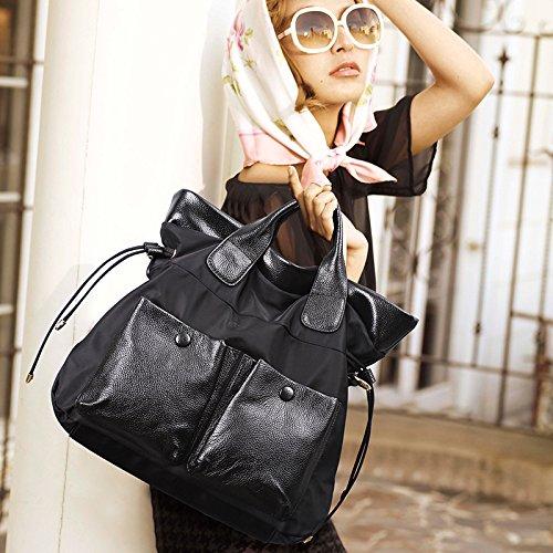 X&L Women's Bulk Oxford Freizeit Mode Hand geschleudert Umhängetasche38*34*15 Black