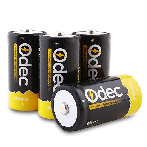 Odec Pila Ricaricabile C, 4 Pezzi 5000mAh Bassa Autoscarica da Batterie Ricaricabili C