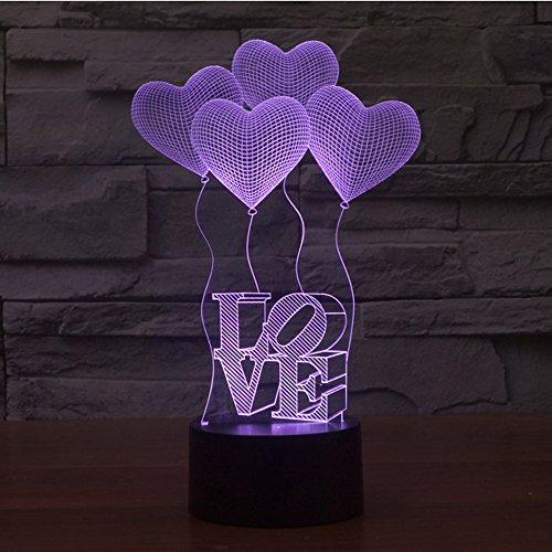 (KEEDA 3D Optische Illusions Lampen, LED Touch Schreibtisch Lampe, 7 Farbwechsel Tischlampe Licht,LED Nachtlicht Kinder Dimmbar, 7 Color Changing Table Light Lamp, mit USB Kabel (Liebe Ballon))