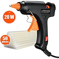 Topelek 20W Quickly Heating Hot Melt Glue Gun with Sticks (50pcs 100mm) Copper Nozzle and on-Off Switch for DIY Arts, Hobby, Craft, Mini, Fabric, Metal, Wood, Glass, Card,Plastic, Ceramics, Home Quick Repairs, Black