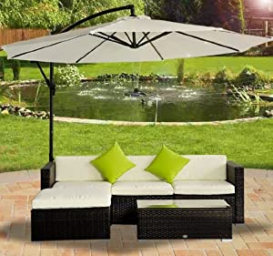 Monaco Large Rattan Sofa Set (Semi Circle) with Small Round Glass Table and + Cushions + Umbrella / Parasol + Dust Cover Garden Patio Conservatory Lounge Furniture (330 x 210 x 81 cm) Minimal Assemble