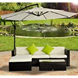 Outsunny Rattan Wicker Conservatory Aluminium Outdoor Garden Patio Furniture Corner Sofa Set without Parasol - Brown