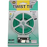Generic Plastic Twist Tie Wire Spool With Cutter For Garden Yard Plant 50m (Green)